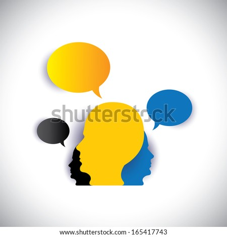 leader & leadership, manager & employees - concept vector. This abstract graphic can also represent executive team meeting, employees discussions, networking, community interaction, internet chat - stock vector