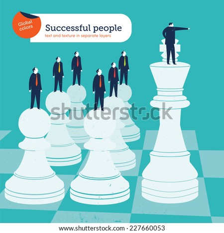 Leader on a chess king. Vector illustration Eps10 file. Global colors. Text and Texture in separate layers. - stock vector
