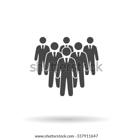 Leader standing in front of corporate crowd. Icon Vector - stock vector