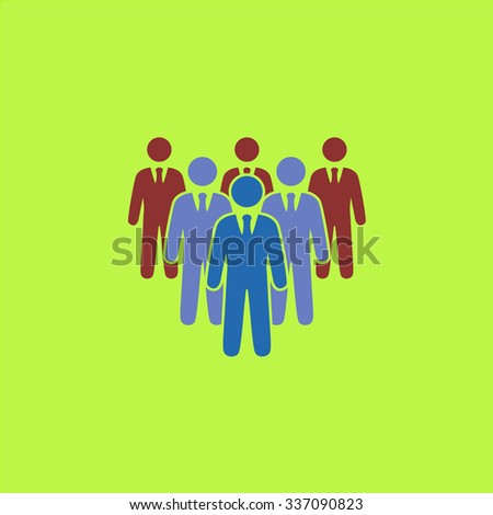 Leader standing in front of corporate crowd. Icon Vector. Icon Picture. Icon Graphic. Icon Art. Icon JPG. Icon JPEG. Icon EPS. Icon AI. Icon FLAT. Icon SIMPLE - stock vector