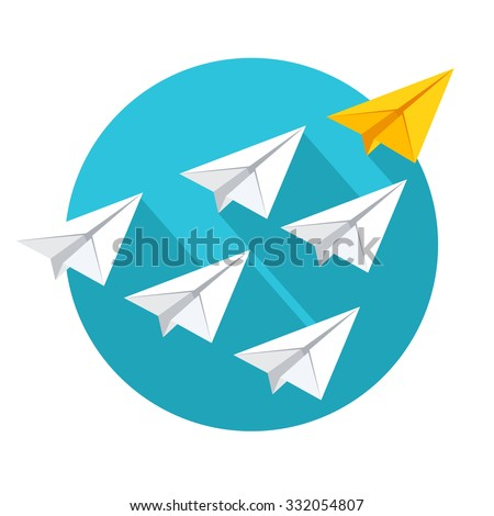 Leadership and teamwork concept. Group of paper planes flying behind the yellow leader. Flat style vector illustration isolated on white background. - stock vector