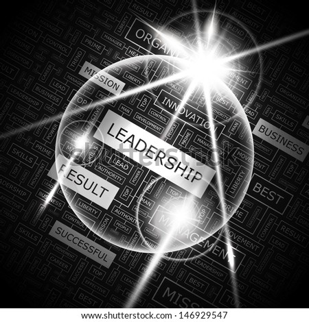 LEADERSHIP. Background concept wordcloud illustration. Print concept word cloud. Graphic collage with related tags and terms. Vector illustration.  - stock vector