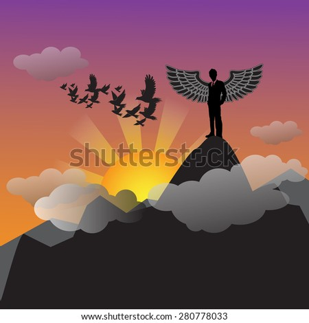 Leadership concept with mountain landscape in the morning-vector - stock vector