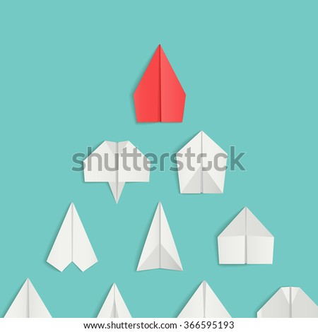 Leadership concept with red paper airplane leading among white. Vector illustrations - stock vector