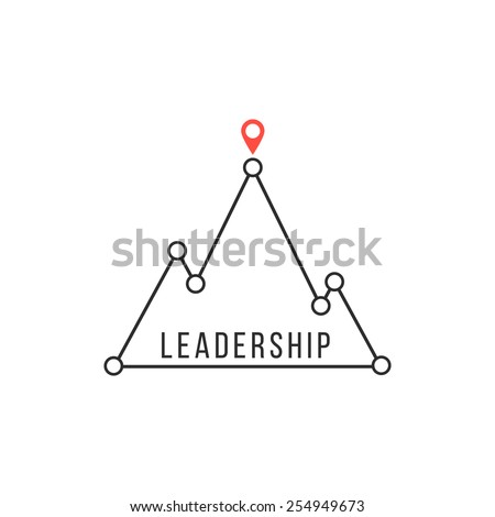 leadership icon like mountain peak. concept of competitive advantage, strategy, lead, attainment, solution. isolated on white background. flat style trendy modern branding design vector illustration - stock vector