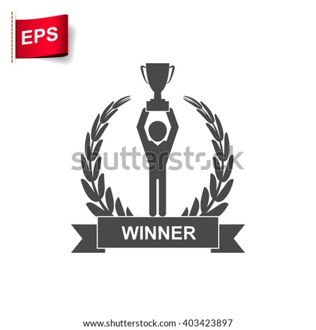leadership icon, vector trophy icon, isolated Champion cup icon - stock vector