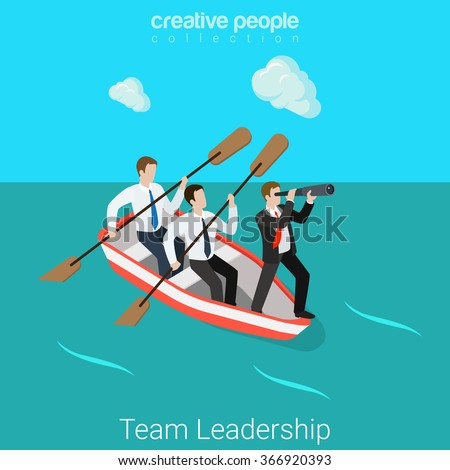 Leadership in business team flat 3d isometry isometric HR concept web vector illustration. Businessmen in rowing boat - two rowers one captain manager boss leader. Creative people collection. - stock vector