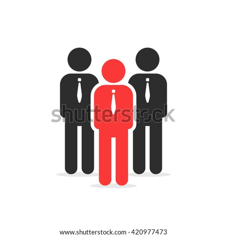 leadership like individual person. concept of social network, crowd, different worker, startup cooperation, discussion flat style trend logo graphic design vector illustration on white background - stock vector