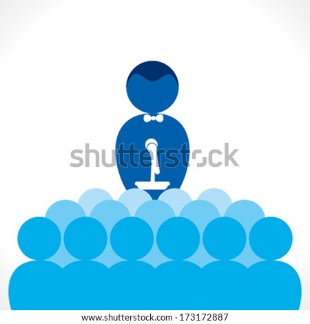 leadership or speaker, business meeting , discussion concept vector - stock vector