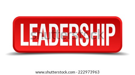 Leadership red 3d square button isolated on white - stock vector