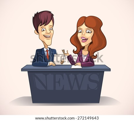 Leading man and woman in the studio of tv news - stock vector