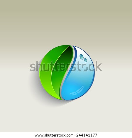 Leaf and a drop of water - vector illustration - stock vector