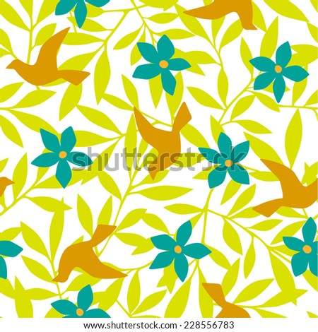 Leaf and bird pattern - stock vector
