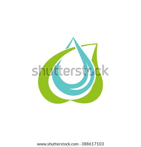 Leaf and blue water drop intersection eco concept