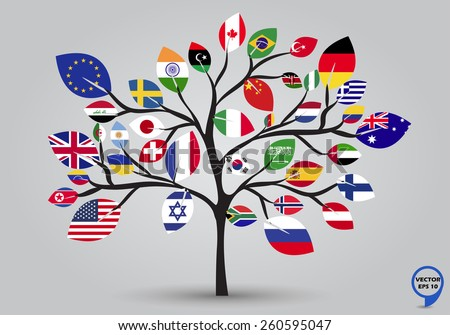 Leaf flags of the World in tree design. Vector illustration. - stock vector