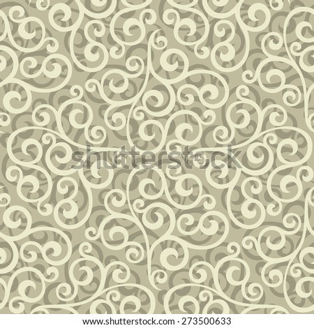 Leaf, floral pattern from curls. Beige and white ornament. Seamless vector background. - stock vector
