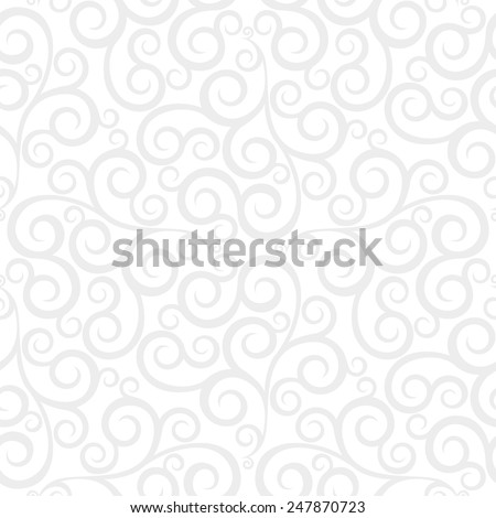 Leaf, floral pattern from curls. Gray and white ornament. Seamless vector background. - stock vector