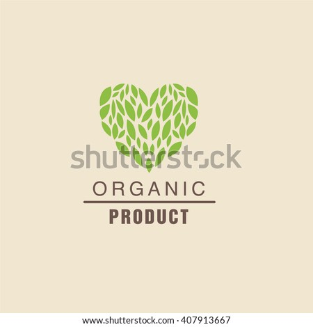 Leaf Heart Above Text Organic Product Logo Cool Flat Vector Design Template On White Backgeound - stock vector