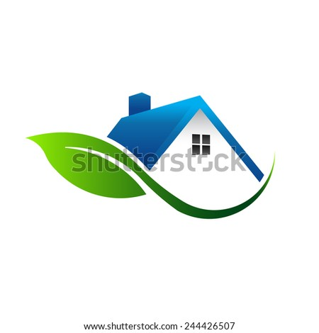 Leaf house icon - stock vector