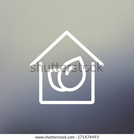 Leaf house icon thin line for web and mobile, modern minimalistic flat design. Vector white icon on gradient mesh background. - stock vector