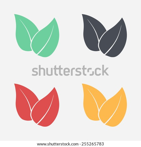 Leaf icon. Fresh natural product symbol. Organic product sign. Flat design style. - stock vector