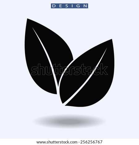 Leaf icon, vector illustration. Flat design style  - stock vector