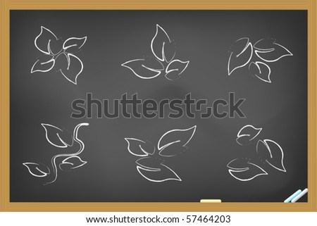 leaf icons drew on blackboard - stock vector