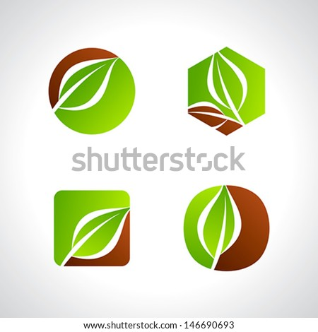 leaf icons logo and design elements - stock vector