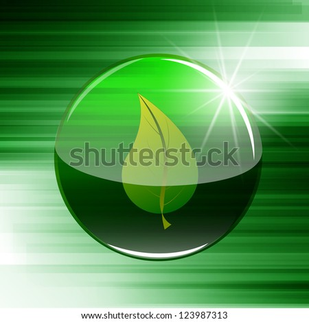 Leaf in a button/sphere - stock vector