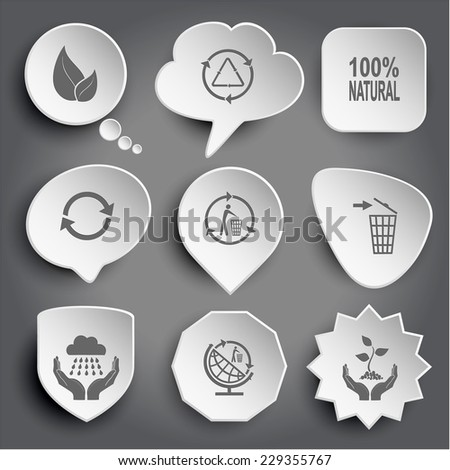 leaf, recycle symbol, 100% natural, recycling bin, weather in hands, globe and recycling symbol, plant in hands. White vector buttons on gray. - stock vector