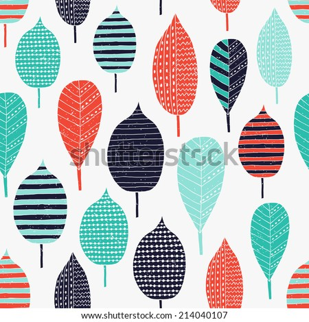 Leaf seamless pattern. Vector illustration.  - stock vector
