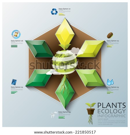 Leaf Shape Three Dimension Polygon Ecology And Environment Infographic Design Template - stock vector