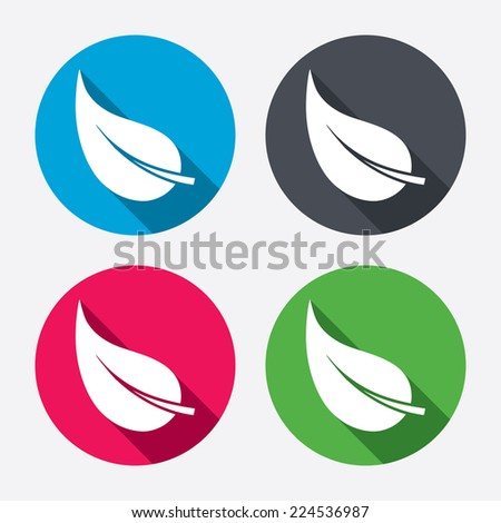 Leaf sign icon. Fresh natural product symbol. Circle buttons with long shadow. 4 icons set. Vector - stock vector