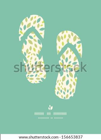 Leaf texture flip flops decor pattern background - stock vector