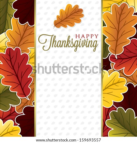 Leaf Thanksgiving card in vector format. - stock vector