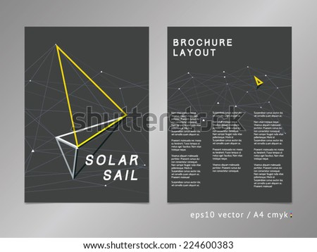 Leaflet / brochure / cover / page layout. Polygonal design, geometric sharp surfaces, minimalistic three-colored digital style. Arrow shaped sail theme. Progress, development and growth concept. - stock vector