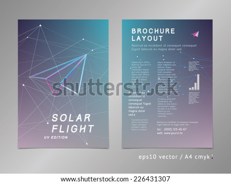 Leaflet / brochure / cover / page layout template. Polygonal design, geometric sharp surfaces, futuristic uv style. Arrow shaped, flight theme. Progress and development concept.  - stock vector