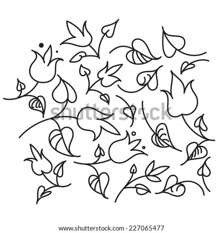 Leafs and Flowers black and white - nature elements - stock vector