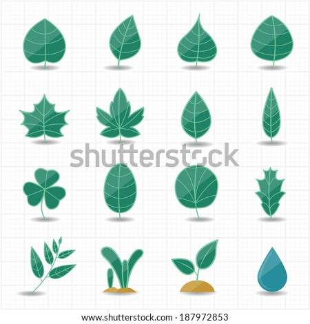 Leafs icons - stock vector