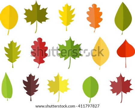 Leafs in spring. Leafs in summer. Leafs in autumn. Leafs Vector illustration. Set of leaf.Leafs  on the white background. Leafs on the line. Leafs parade.  - stock vector