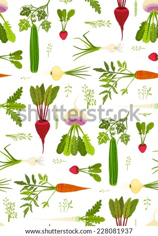 Leafy Vegetables and Greens Seamless Pattern Background. Market fresh roots with leaves EPS8 vector illustration. Use any background color. - stock vector