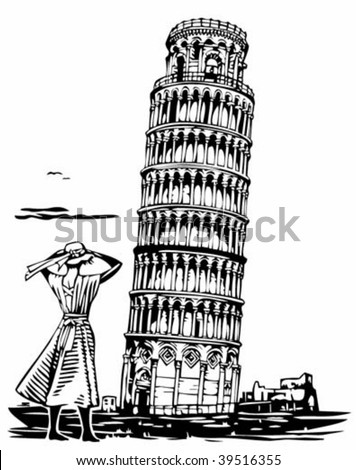 Leaning tower of Pisa illustration - stock vector