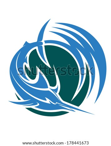 Leaping swordfish or marlin icon depicting deep-sea sport or game fishing logo with swirling blue and green water - stock vector