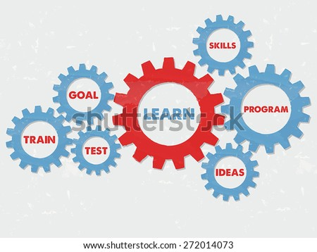 learn, goal, train, test, skills, program, ideas - business education motivation concept words - red blue text in grunge flat design gear wheels, vector - stock vector