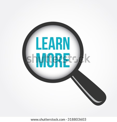 Learn More Magnifying Glass - stock vector