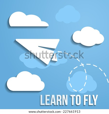 Learn to fly business concept. Paper airplane flying in the clouds, and leaves a trail. Vector - stock vector