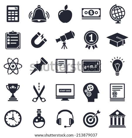 Learning and school theme, black and white icons. - stock vector