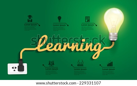 Learning concept, Creative light bulb idea abstract infographic layout, diagram, step up options, Vector illustration modern design template - stock vector