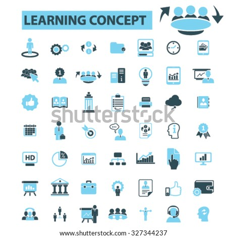 learning concept icons - stock vector