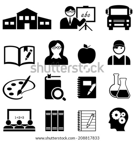 Learning, education and back to school icon set - stock vector